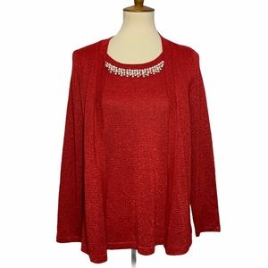 NY Collection Beaded Neckline Sweater